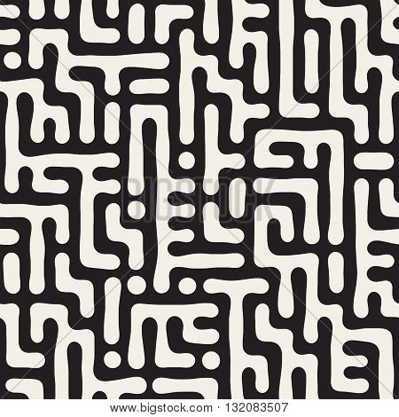 Vector Seamless Black And White Rounded Irregular Maze Pattern Abstract Geometric Background