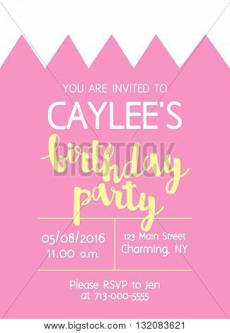 Vector Cute Kids Birthday Party Invitation With Lettering For Girl. Background With Crown