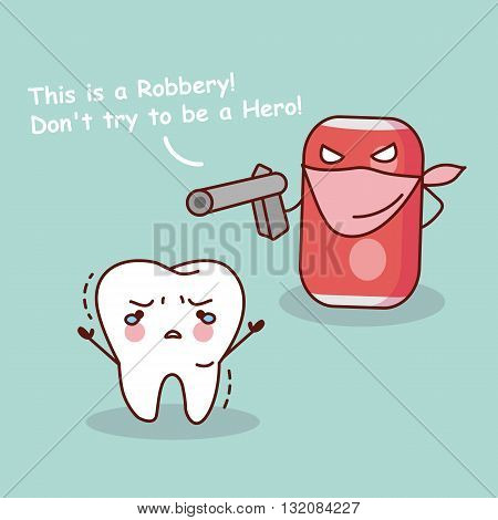 cute cartoon teeth robbery by unhealthy soda water great for health dental care concept