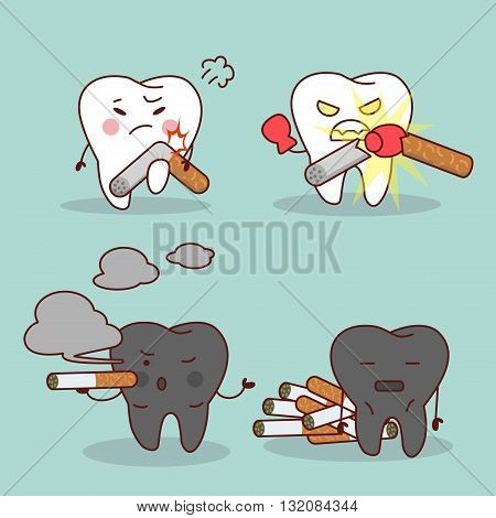 Smoking cartoon tooth and health teeth great for health dental care concept