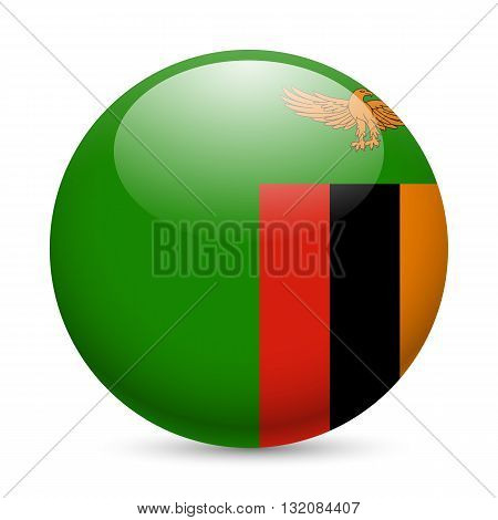 Flag of Zambia as round glossy icon. Button with Zambian flag