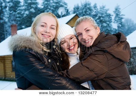 Beautiful women in winter clothing outdoors