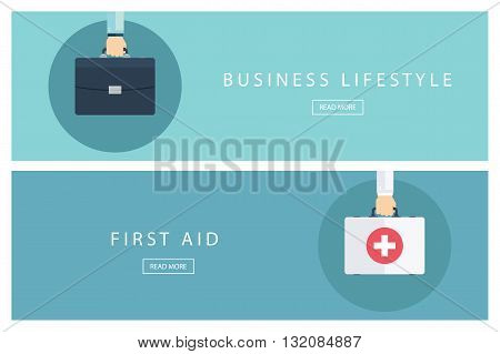 Set of flat design concepts Business lifestyle and First aid. Banners for web design, marketing and promotion. Presentation templates. Vector illustration.