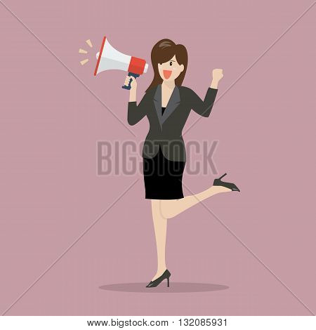 Business woman with a megaphone. vector illustration