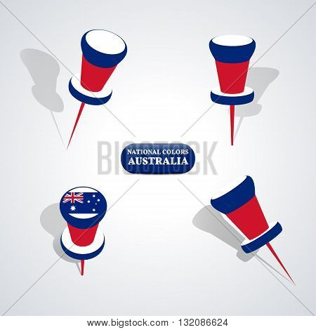 Set of pushpin in the national colors of Australia vector illustration.