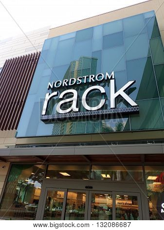 HONOLULU - JANUARY 28: Nordstrom Rack sign and entance way in Ward Village on Oahu Hawaii on January 28 2016. Nordstrom Rack is the off-price retail division of Nordstrom Inc.