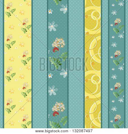 Patchwork design retro colors pattern background with decorative elements