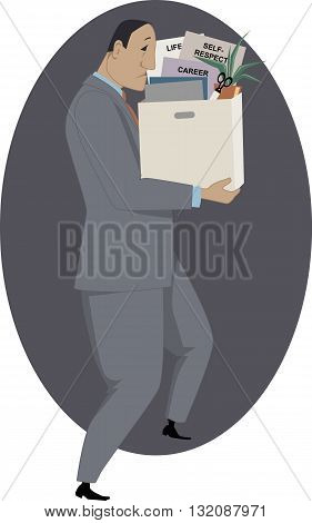 Losing a job. Man holding a box of his work-related belongings, vector illustration