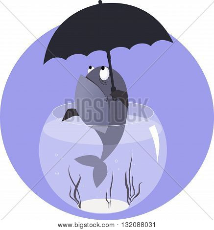 Funny cartoon fish in a fish bowl with an umbrella