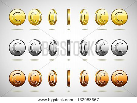 Set of different rotational coins with C symbol