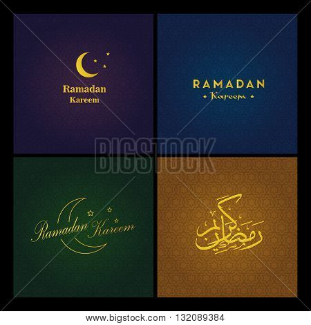 Set of the vector logos of Ramadan Kareem and arabic patterns. Dark festive backgrounds