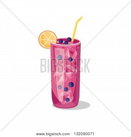 Cold alcohol coctails and other drinks isolated. Cocktail drink fruit juice in flat design style. Retro style holiday cocktail. Vector ilustration