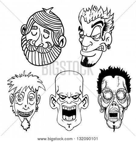 black and white character face set cartoon