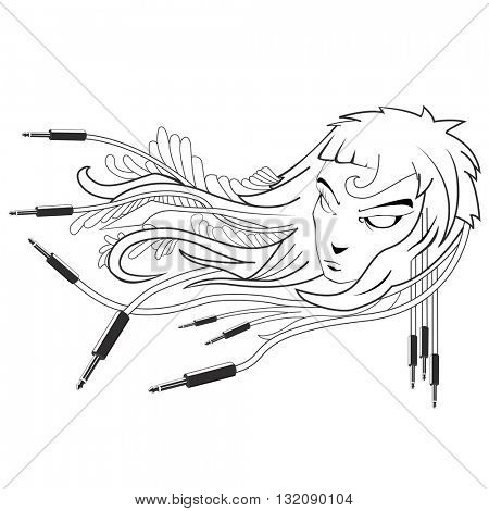 black and white girl with cables emerging from hair cartoon