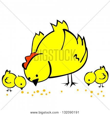 hen and two chickens isolated on white cartoon