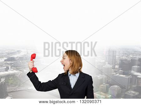 Woman scream in red receiver