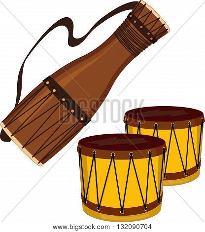 Bata and bongo drums, EPS8 vector illustration