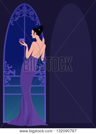 Black tie party invitation template with a woman in an evening gown standing at the window, copy space on her right