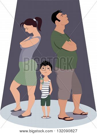 Family conflict hurts children. Parents quarreling, ignoring a child, vector illustration isolated