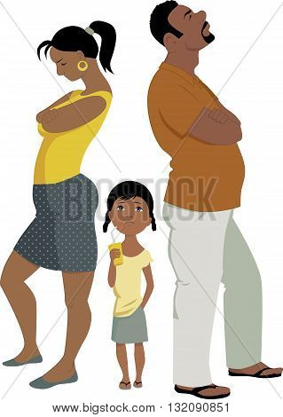 Family conflict affects children. Parents quarreling, ignoring a child, vector illustration isolated on white