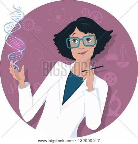 Woman in science. Attractive woman in a lab coat looking at a DNA molecule, scientific symbols on the circular background, vector illustration, no transparencies