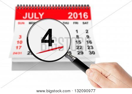 American Independence Day Concept. 4 July 2016 calendar with magnifier on a white background