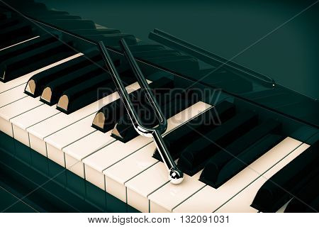 Tuning Fork on top of Piano Keys extreme Closeup. 3d Rendering