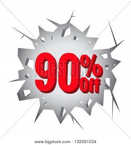 Sale 90% percent on Hole cracked white wall for promotion