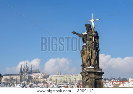 Sculpture of St. John the Baptist in Prague
