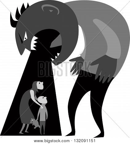 Domestic abuse.Male monster yelling at woman and child representing domestic abuse, grayscale vector illustration