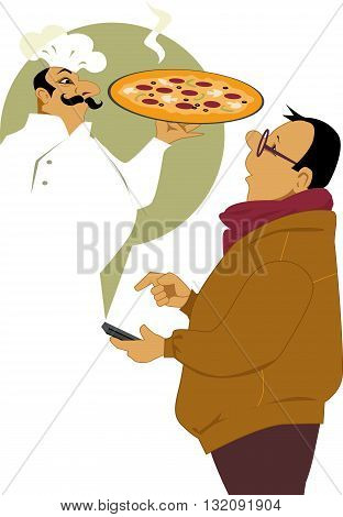 Man calling on his smart-phone for a pizza delivery, pizzeria chef appearing in front of him with a fresh pie, vector illustration, no transparencies