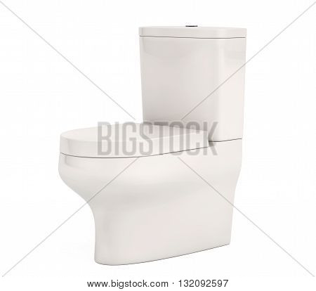 White Ceramic Toilet Bowl on a white background. 3d Rendering