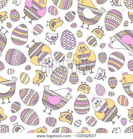 Easter pattern. Seamless easter pattern with doodle elements. Eggs hen chicken with hand drawn doodle ornament. Cute background for Easter design.