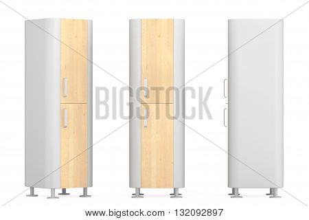 Modern Wooden Kitchen Cabinets on a white background. 3d Rendering