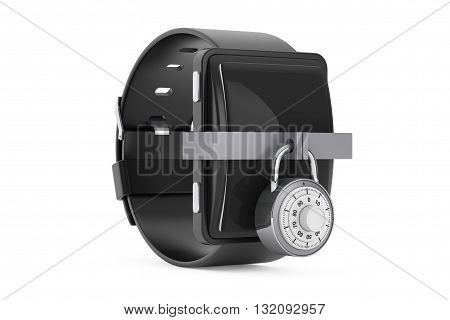 Security Concept. Smartwatch with Combination Padlock on a white background. 3d Rendering