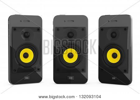 Mobile Music Concept. Mobile Phones with Speakers on a white background. 3d Rendering