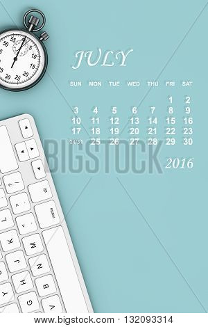 2016 year calendar. June calendar with Stopwatch and Keyboard. 3d Rendering