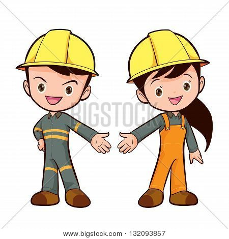 Couple of construction workers vector characters Young man and woman friendly smiling workers in work wear overalls standing isolated.Building male and female specialists ready for worksafety work wear cute boy and girl.
