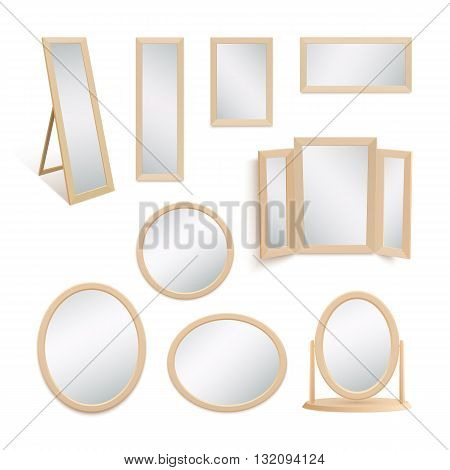 Set of mirrors isolated on white background. Vector illustration.