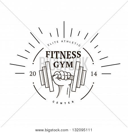 Logo vintage style hand with dumbbells. Vector illustration of fitness center