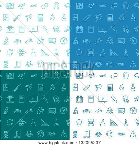 Science ison seamless pattern flat line set of 4