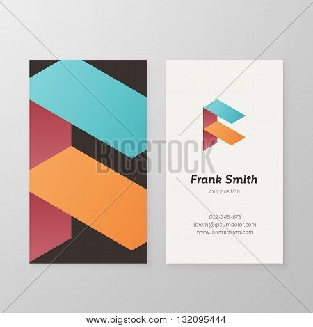 Business card isometric logo letter F vector template. Vector business card design logo as sign letter F.