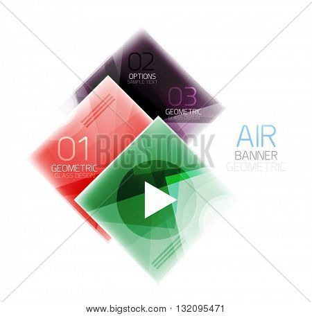 Glass square web box, infographics banner. Business air light glossy design template with buttons and option text