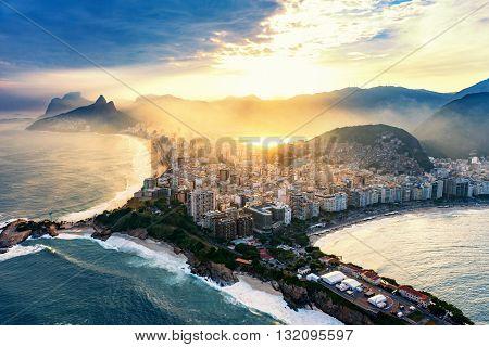 Copacabana And Ipanema Beaches In Rio De Janeiro.