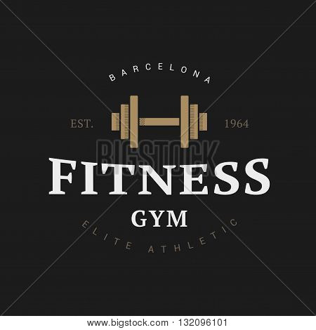 Fitness dumbbell logo in vintage style for sports club
