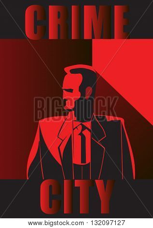 Poster crime city man red and black background