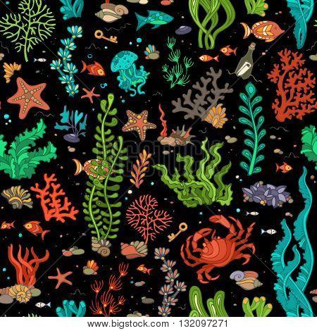 Seamless Pattern Of Sea Life.