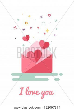 Letter with hearts in the style of flat design. Inscription I love you. Modern style stars and circles.