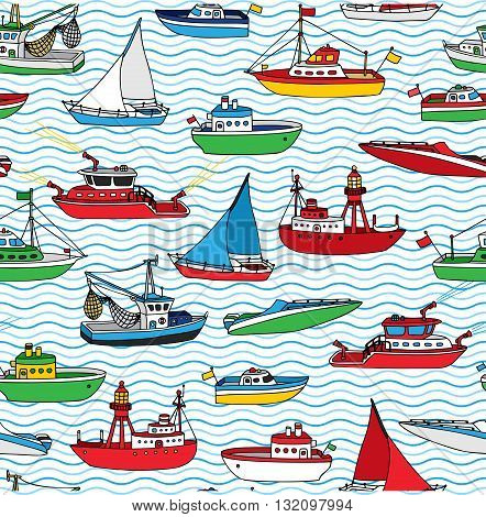 Vector Seamless Nautical Pattern.