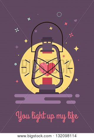You light up my life. Illustration for lovers style flat and hipster. Postcard to the Valentine's Day
